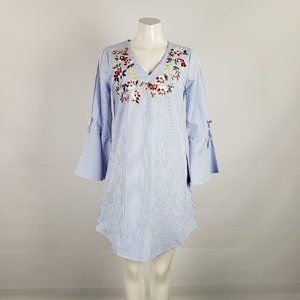 Spense Embroidered Flower Tunic Top Size S